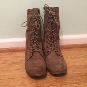 Faux Suede Olive Brown Combat Boots